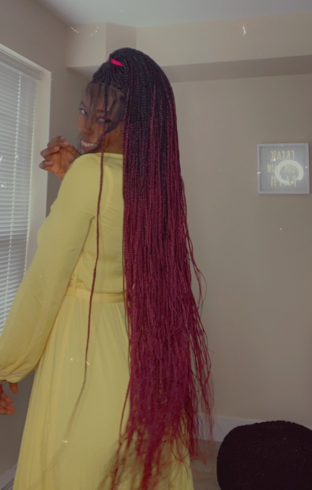 BLACK/RED Ombre Braided Wig